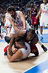 FC Barcelona Lassa's player Samardo Samuels between Real Madrid's players Sergi Llull and Willy Hernangomez during Turkish Ailines Euroleague at Barclaycard Center in Madrid, January 21, 2016<br /> (ALTERPHOTOS/BorjaB.Hojas)