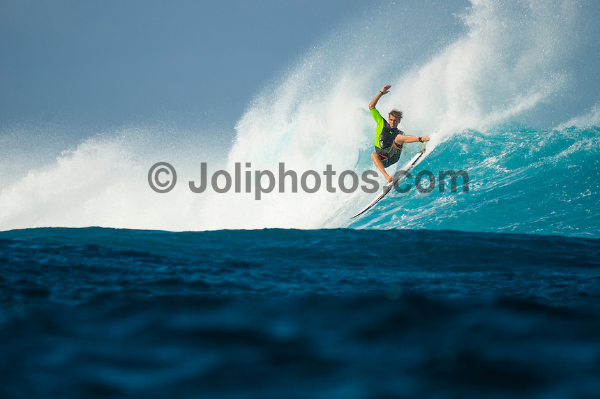 Namotu Island Resort/Fiji (Sunday, September 8, 2013) Koa Smith (HAW) surfing Cloudbreak- The swell is in the 6' with Cloudbreak being the prime spot. The wind has finally mellowed and turned back to Trades which is offshore at most of the breaks. Namotu Lefts and Swimming Pools also had waves today.  Photo: joliphotos.com