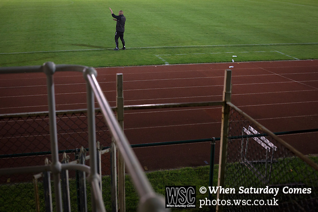 Connah's Quay Nomads 1 Llandudno 1, 20/09/2016. Deeside Stadium, Welsh Premier League. The home team's manager Andy Morrison gesturing from the touchline at the Deeside Stadium as Connah's Quay Nomads played Llandudno in a Welsh Premier League match. Both clubs represented Wales in the 2016-17 Europa League, the first time either had competed in European competition. The match ended in a 1-1 draw, watched by 181 spectators. Photo by Colin McPherson.