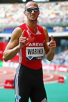 Jeremy Wariner after his 400m victory at the Samsung Diamond Leage meeting in Paris, France on Friday, July 16, 2010. Photo by Errol Anderson