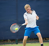 June 11th 2017, Nottingham, England; ATP Aegon Nottingham Open Tennis Tournament day 2;  Backhand from Ryan James Storrie of Great Britain who lost in three sets to John-Patrick Smith of Australia