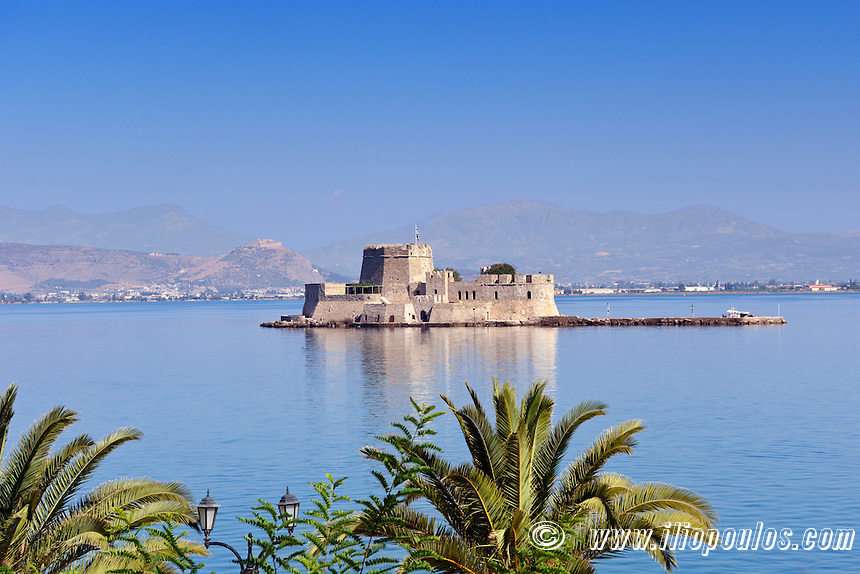 The castle of Bourtzi in the bay of Nafplio, Greece