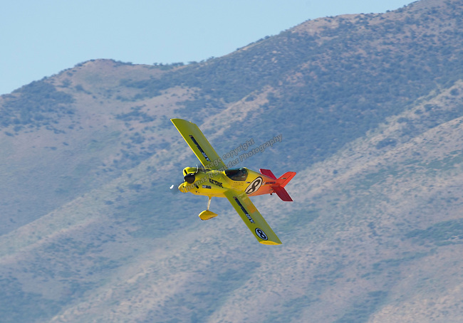 """Steve Temple from Stateline, NV pilots """"Heat Stroke"""" (8)during the National Championship Air Races in  Reno, Nevada on Saturday, Sept. 14, 2019."""