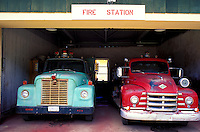 Fire trucks at the volunteer fire department, Kalaupapa settlement
