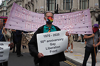 London, UK - 27 June 2020.<br /> Human rights activist Peter Tatchell leads a march through the capital to mark the London Gay Liberation Front's 50th anniversary. The march was only open to Gay Liberation Front veterans to ensure it complies with social distancing regulations.<br /> CAP/JOR<br /> ©JOR/Capital Pictures