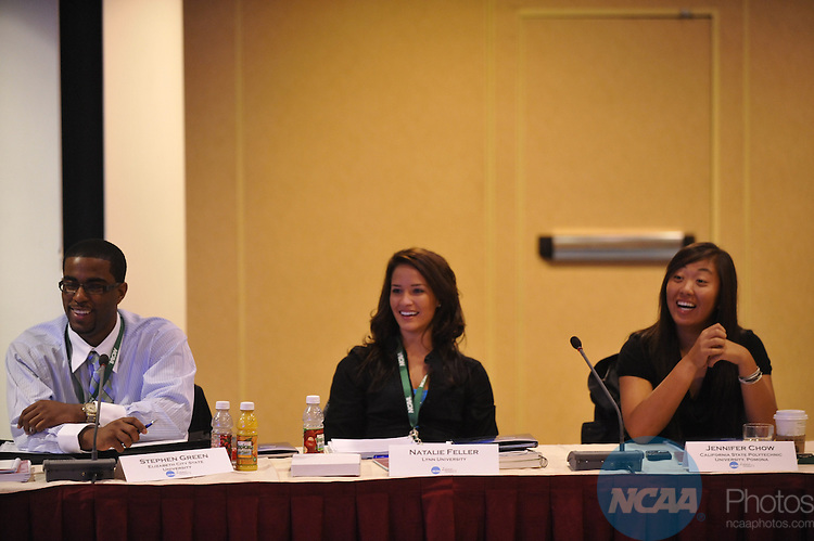 12 JAN 2010: The Division II SAAC meeting at the 2010 NCAA Convention held at the Marriott Marquis and the Hyatt Regency in Atlanta, GA. Stephen Nowland/NCAA Photos.Pictured: Stephen Green, Natalie Feller, Jennifer Chow