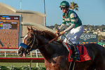 """DEL MAR, CA  AUGUST 24: #7 Catalina Cruiser, ridden by Flavien Prat, returns the connections after winning the Pat O'Brien Stakes (Grade ll) """"Win and You're In Breeders' Cup Dirt Mile Division"""" on August 23, 2019 at Del Mar Thoroughbred Club in Del Mar, CA.  ( Photo by Casey Phillips/Eclipse Sportswire/CSM)"""