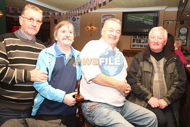 Benny Murray, Adrian Somerville, Ken Cunningham and Noel O'Reilly watching the Breeders Cup in Nolans...(Photo credit should read Jenny Matthews www.newsfile.ie)....This Picture has been sent you under the condtions enclosed by:.Newsfile Ltd..The Studio,.Millmount Abbey,.Drogheda,.Co Meath..Ireland..Tel: +353(0)41-9871240.Fax: +353(0)41-9871260.GSM: +353(0)86-2500958.email: pictures@newsfile.ie.www.newsfile.ie.