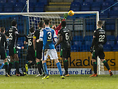 16th March 2018, McDiarmid Park, Perth, Scotland; Scottish Premier League football, St Johnstone versus Hibernian; Scott Tanser of St Johnstone hits the bar with free kick in the dying minute of the game