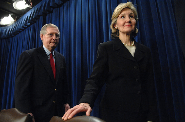 Senate Minority Leader Mitch McConnell, R-Ky., and Sen. Kay Bailey Hutchison, R-Texas, leave a news conference following the Senate's vote on whether to move forward with a debate on the President's plan to increase troop levels in Iraq.  Cloture failed 56 for, 34 against.  60 votes were needed for cloture.