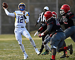 Borgia quarterback Sam Heggemann throws under pressure from several Roosevelt players. Roosevelt defeated Borgia in a Class 3 District 2 football game at Roosevelt HS in St. Louis on Saturday November 16, 2019. <br /> Tim Vizer/Special to STLhighschoolsports.com