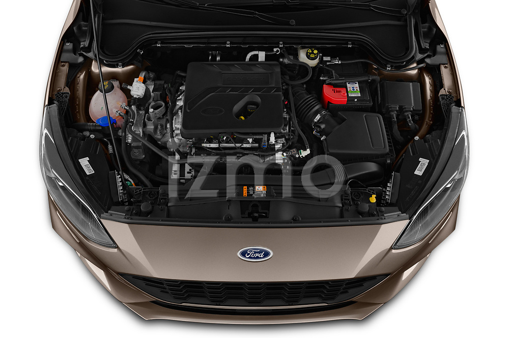 Car stock 2019 Ford Focus-Clipper  ST-Line 5 Door Wagon engine high angle detail view