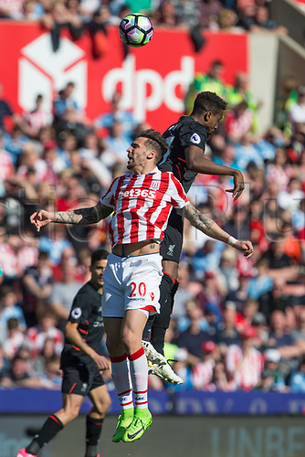 April 8th 2017, bet365 Stadium, Stoke on Trent, Staffordshire, England; EPL Premier League football, Stoke City versus Liverpool; Stoke City's Geoff Cameron climbs to head the ball