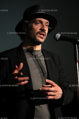"May 1, 2016, Chiba, Japan - Italian movie star Claudio Santamaria speaks before Japanese fans at the Iwanami hall as his movie ""Jorneranno i Prati"" is screening at the movie theatre in Tokyo on Sunday, May 1, 2016. Santamaria is now here to attend the Italian movie festival in Tokyo.  (Photo by Yoshio Tsunoda/AFLO) LWX -ytd-"