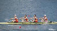 Rio de Janeiro. BRAZIL.   CHN LM4- Bow. Wei JIN,  Jingbin ZHAO, Chenggang YU and  Tiexin WANG,  2016 Olympic Rowing Regatta. Lagoa Stadium,<br /> Copacabana,  &ldquo;Olympic Summer Games&rdquo;<br /> Rodrigo de Freitas Lagoon, Lagoa. Local Time 12:20:00   Saturday  06/08/2016 <br /> <br /> [Mandatory Credit; Peter SPURRIER/Intersport Images]
