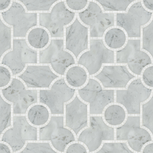 Chatham 1, a waterjet and hand-cut stone mosaic, shown in  polished Thassos and honed Carrara, is part of the Silk Road Collection by Sara Baldwin for New Ravenna Mosaics. <br />