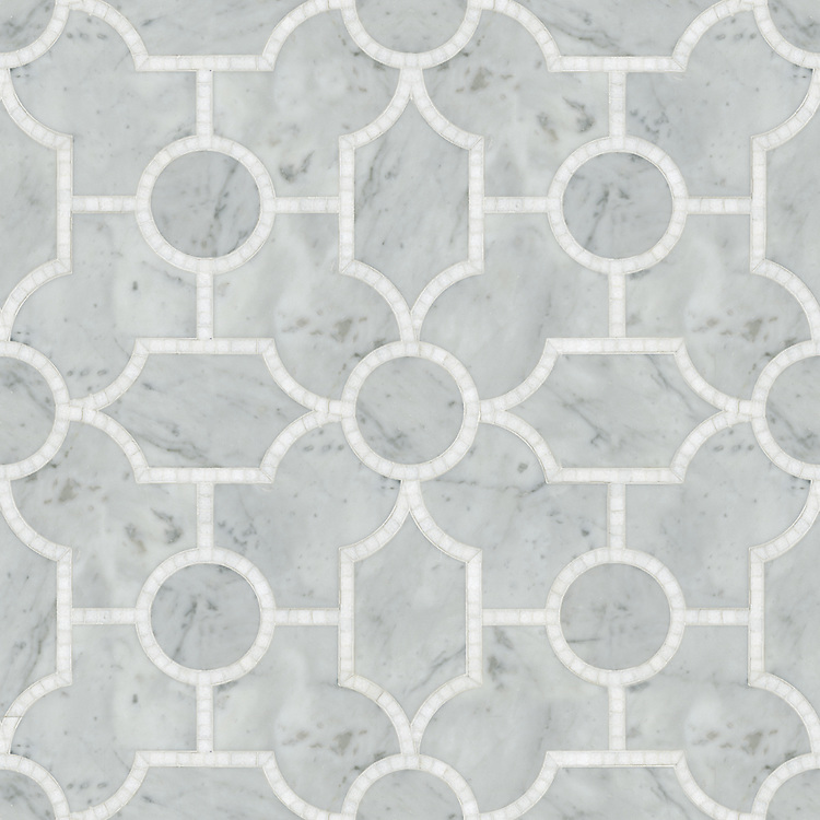 Chatham 1, a waterjet and hand-cut stone mosaic, shown in  polished Thassos and honed Carrara, is part of the Silk Road® collection by New Ravenna.