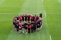 The Saracens team huddle together prior to the match. Aviva Premiership match, between Bath Rugby and Saracens on September 9, 2017 at the Recreation Ground in Bath, England. Photo by: Patrick Khachfe / Onside Images