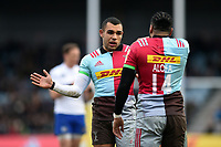 Joe Marchant of Harlequins speaks with team-mate Alofa Alofa. Aviva Premiership match, between Harlequins and Bath Rugby on March 2, 2018 at the Twickenham Stoop in London, England. Photo by: Patrick Khachfe / Onside Images