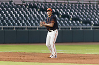 AZL Giants Black third baseman Sean Roby (5) prepares to make a throw to first base during an Arizona League game against the AZL Rangers at Scottsdale Stadium on August 4, 2018 in Scottsdale, Arizona. The AZL Giants Black defeated the AZL Rangers by a score of 6-3 in the second game of a doubleheader. (Zachary Lucy/Four Seam Images)