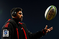11th July 2020, Christchurch, New Zealand;  Richie Mo'unga of the Crusaders warms up before the Super Rugby Aotearoa, Crusaders versus Blues at Orangetheory Stadium, Christchurch