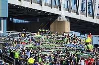 Seattle Sounders fans. The Philadelphia Union and the Seattle Sounders played to a 2-2 tie during a Major League Soccer (MLS) match at PPL Park in Chester, PA, on May 4, 2013.