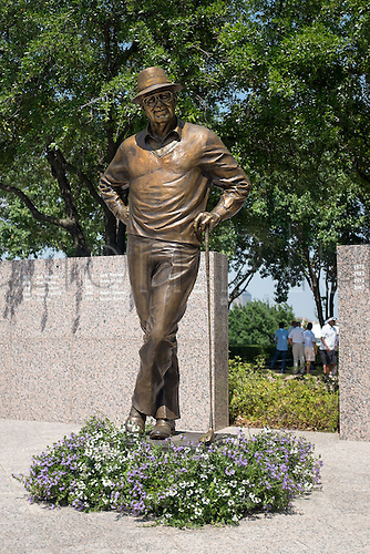 17.05.2013. Irving, Texas, USA.  Byron Nelson statue in front of the 1st tee box at the second round of the HP Byron Nelson Championship played at the TPC Four Seasons Resort in Irving, TX.