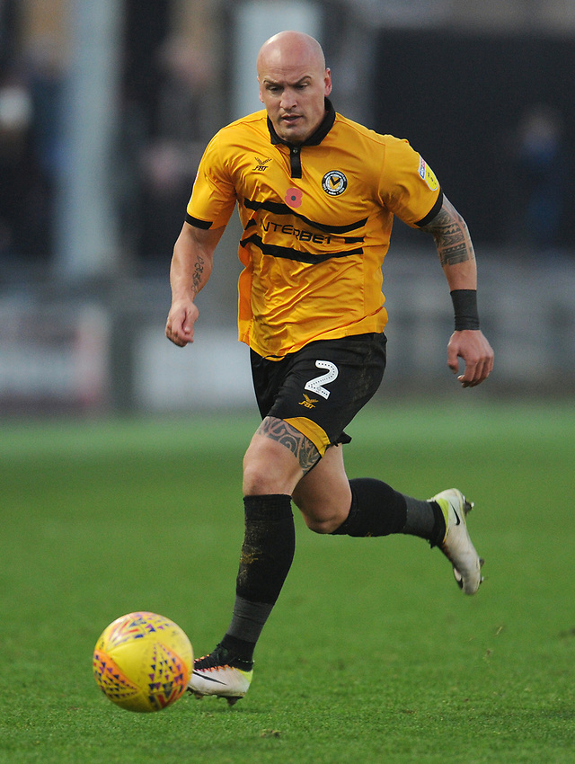 Newport County's David Pipe<br /> <br /> Photographer Kevin Barnes/CameraSport<br /> <br /> The EFL Sky Bet League Two - Newport County v Colchester United - Saturday 17th November 2018 - Rodney Parade - Newport<br /> <br /> World Copyright © 2018 CameraSport. All rights reserved. 43 Linden Ave. Countesthorpe. Leicester. England. LE8 5PG - Tel: +44 (0) 116 277 4147 - admin@camerasport.com - www.camerasport.com