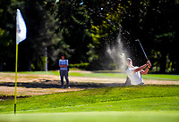 Nick Voke plays out of a bunker during his semifinal against Jang Hyun Lee. Final day of the Jennian Homes Charles Tour / Brian Green Property Group New Zealand Super 6s at Manawatu Golf Club in Palmerston North, New Zealand on Sunday, 8 March 2020. Photo: Dave Lintott / lintottphoto.co.nz