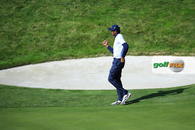 Tony Finau (Team USA) during the Saturday Fourballs at the Ryder Cup, Le Golf National, Paris, France. 29/09/2018.<br /> Picture Phil Inglis / Golffile.ie<br /> <br /> All photo usage must carry mandatory copyright credit (© Golffile | Phil Inglis)