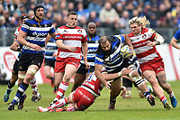 Kane Palma-Newport of Bath Rugby takes on the Gloucester Rugby defence. Aviva Premiership match, between Bath Rugby and Gloucester Rugby on April 30, 2017 at the Recreation Ground in Bath, England. Photo by: Patrick Khachfe / Onside Images