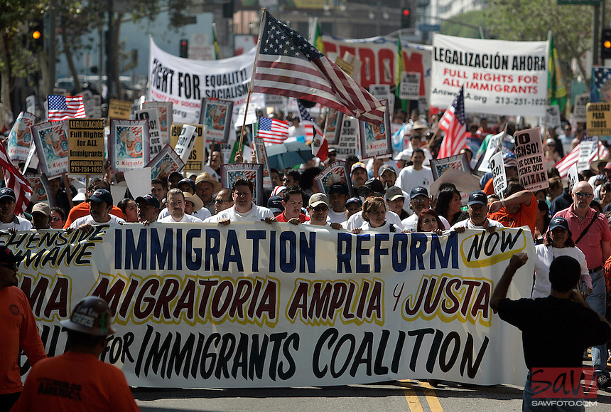 """LOS ANGELES,CA - OCTOBER 10,2009:  Several hundred gathered Saturday for the """"Full Rights for Immigrants March"""" and rally along Broadway in downtown Los Angeles, October 10, 2009..( Photo: Spencer Weiner/Los Angeles Times.com )"""