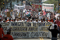 "LOS ANGELES,CA - OCTOBER 10,2009:  Several hundred gathered Saturday for the ""Full Rights for Immigrants March"" and rally along Broadway in downtown Los Angeles, October 10, 2009..( Photo: Spencer Weiner/Los Angeles Times.com )"