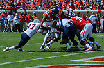 Jordan Wilkins breaks through the defensive to score a touchdown during the game against UT Martin Sat., Sept. 9, 2017. Ole Miss wins 45-23. Photo by Marlee Crawford/Ole Miss Communications