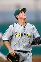 Connor Hofmann #1 of the Oregon Ducks during a game against the USC Trojans at Dedeaux Field on March 15, 2013 in Los Angeles, California. (Larry Goren/Four Seam Images)