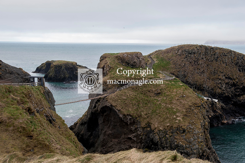 Carrick-a-Rede rope bridge in Northern Ireland.<br /> Photo Don MacMonagle