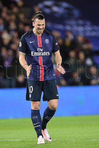 06.04.2016. Paris, France. UEFA CHampions League, quarter-final. Paris St Germain  versus Manchester City.  Zlatan Ibrahimovic (PSG) with a close miss shows his frustration