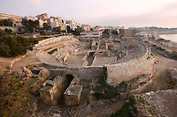 Roman Amphitheatre; Second century AD; Remodelled by Heliogabalus at the beginning of III century AD; In 259 AD it witnessed the first local Christians martyrs? executions, Tarragona (Tarraco, Hispania Citerior), Catalonia, Spain