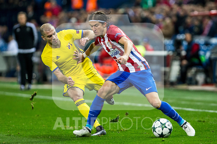 FC Rostov's Timofei Kalachev Atletico de Madrid's Antoine Griezmann during the match of UEFA Champions League between Atletico de Madrid and FC Rostov, at Vicente Calderon Stadium,  Madrid, Spain. November 01, 2016. (ALTERPHOTOS/Rodrigo Jimenez)