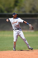 Detroit Tigers infielder Harold Castro (34) during a minor league spring training game against the Houston Astros on March 21, 2014 at Osceola County Complex in Kissimmee, Florida.  (Mike Janes/Four Seam Images)