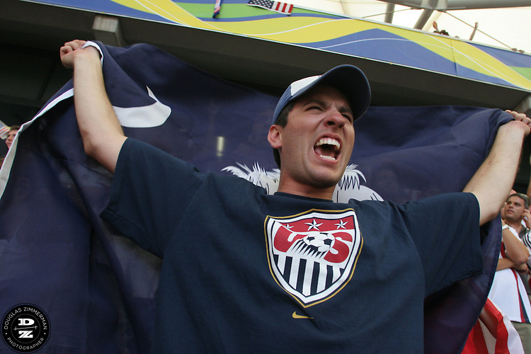 USA National Soccer Team fan Ryan Deantonio of Charleston, S.C. holds a flag while cheer on the team before their FIFA World Cup First round match against the Czech Republic on Monday June 12th, 2006 in Gelsenkirchen, Germany.  The United States lost the match 3-0.