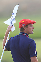 Bryson DeChambeau (Team USA) on the 18th green during the Sunday Singles of the Ryder Cup, Le Golf National, Ile-de-France, France. 30/09/2018.<br /> Picture Thos Caffrey / Golffile.ie<br /> <br /> All photo usage must carry mandatory copyright credit (© Golffile | Thos Caffrey
