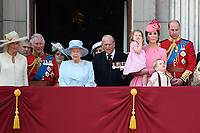 Camilla, Duchess of Cornwall; Prince Charles, Prince of Wales; Prince Andrew, Duke of York; Princess Beatrice; HM Queen Elizabeth II &amp; Prince Philip, Duke of Edinburgh; Catherine, Duchess of Cambridge; Princess Charlotte; Prince George &amp; Prince William, Duke of Cambridge on the balcony of Buckingham Palace following the Trooping of the Colour Ceremony celebrating the Queen's official birthday. London, UK. <br /> 17 June  2017<br /> Picture: Steve Vas/Featureflash/SilverHub 0208 004 5359 sales@silverhubmedia.com