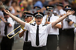 "© Joel Goodman - 07973 332324 . 27/08/2016 . Manchester , UK . Greater Manchester Police brass band performing "" YMCA "" by The Village People at the annual Pride Parade through Manchester City Centre . The event is part of Manchester Gay Pride's Big Weekend . Photo credit : Joel Goodman"