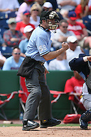 March 18th 2008:  MLB Umpire Dan Iassogna during a Spring Training game at Bright House Networks Field in Clearwater, FL.  Photo by:  Mike Janes/Four Seam Images