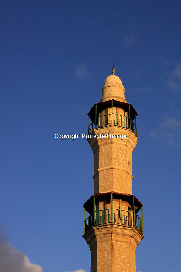 Israel, Tel Aviv-Yafo, the minaret of the Great Mosque in Jaffa