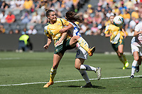 9th November 2019; Bankwest Stadium, Parramatta, New South Wales, Australia; International Womens Friendly Football, Australia versus Chile; Chloe Logarzo of Australia flicks the ball on as Daniela Zamora of Chile challenges in the box - Editorial Use