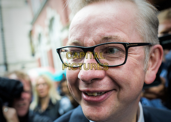 Justice Secretary Michael Gove leaves the press conference following his candidature to replace Cameron, London, England July 01, 2016.<br /> CAP/CAM<br /> &copy;Andre Camara/Capital Pictures