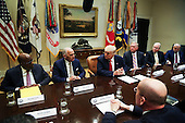 United States President Donald Trump leads a listening session with health insurance company CEO's in the Roosevelt Room of the White House, Washington, DC, February 27, 2017. <br /> Credit: Aude Guerrucci / Pool via CNP