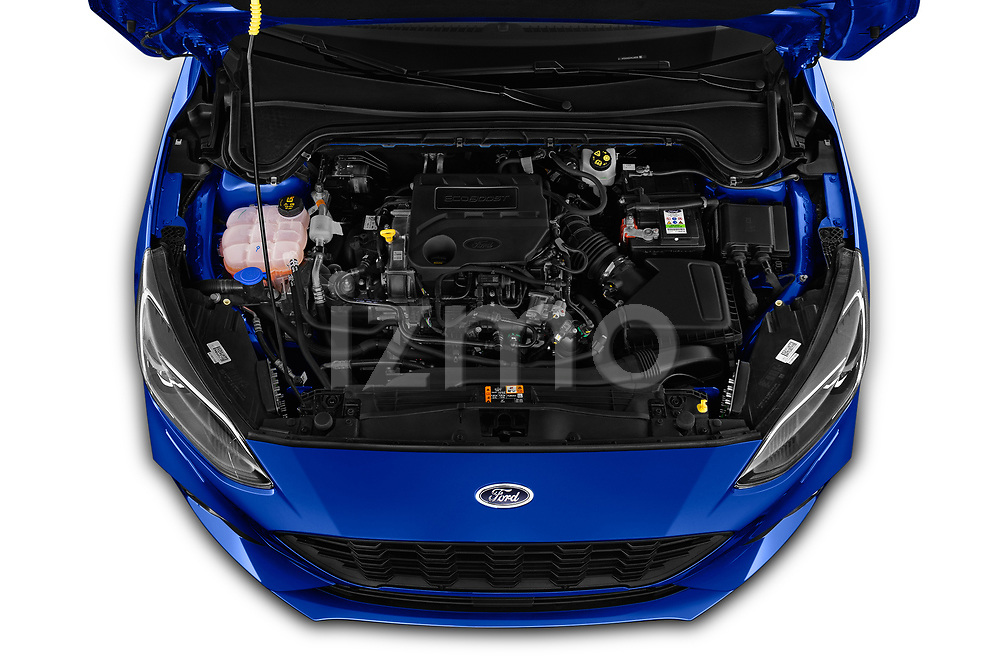 Car stock 2018 Ford Focus ST Line Business 4 Door Hatchback engine high angle detail view